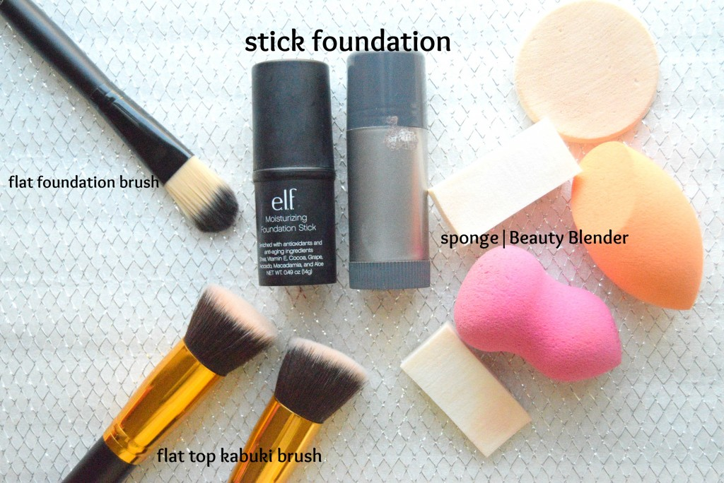 stick foundationand brushes