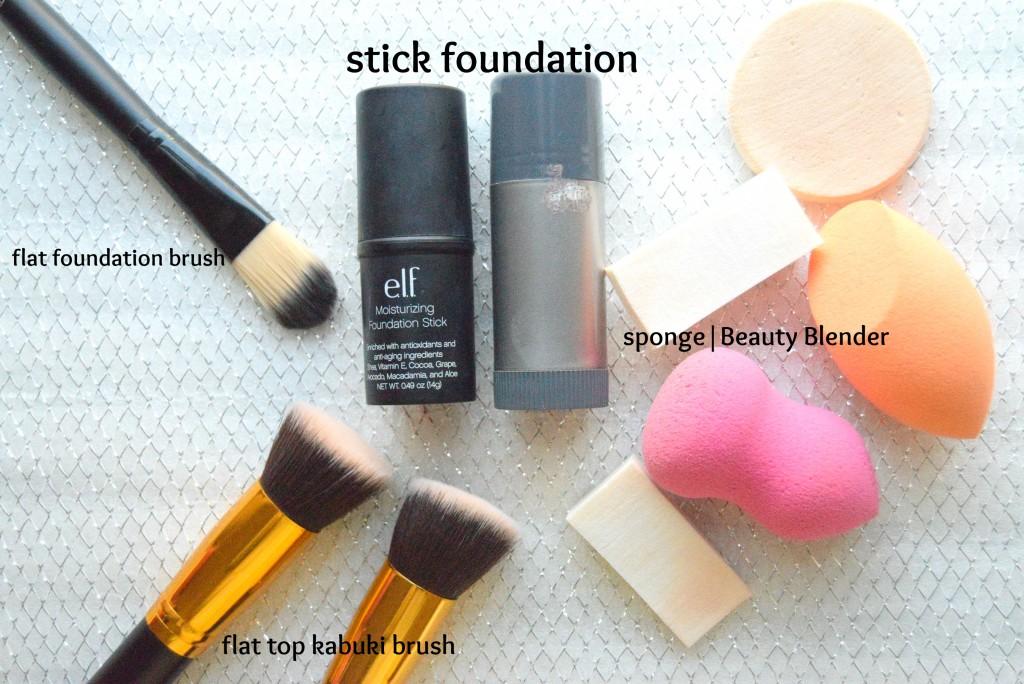 stick foundationand brushes