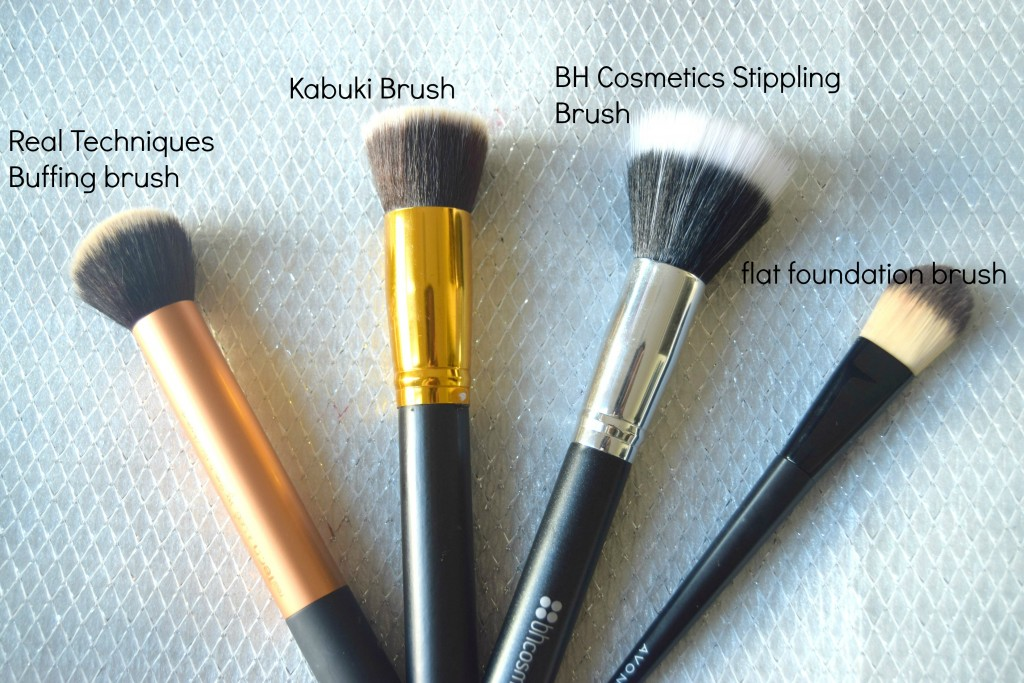 foundation brushes- flat foundation brush-stippling brush-buffing brush-kabuki brush2