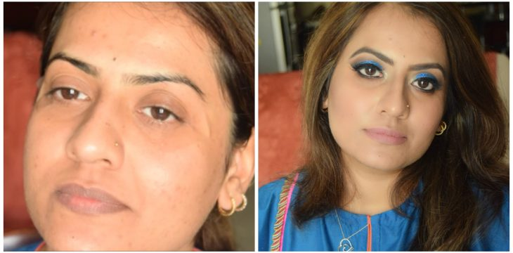 Blue Glitter Eye Makeup